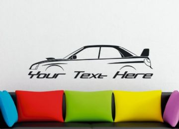 Large Custom car silhouette wall sticker - for Subaru Impreza WRX STI (blob eye) 2nd gen | with wing